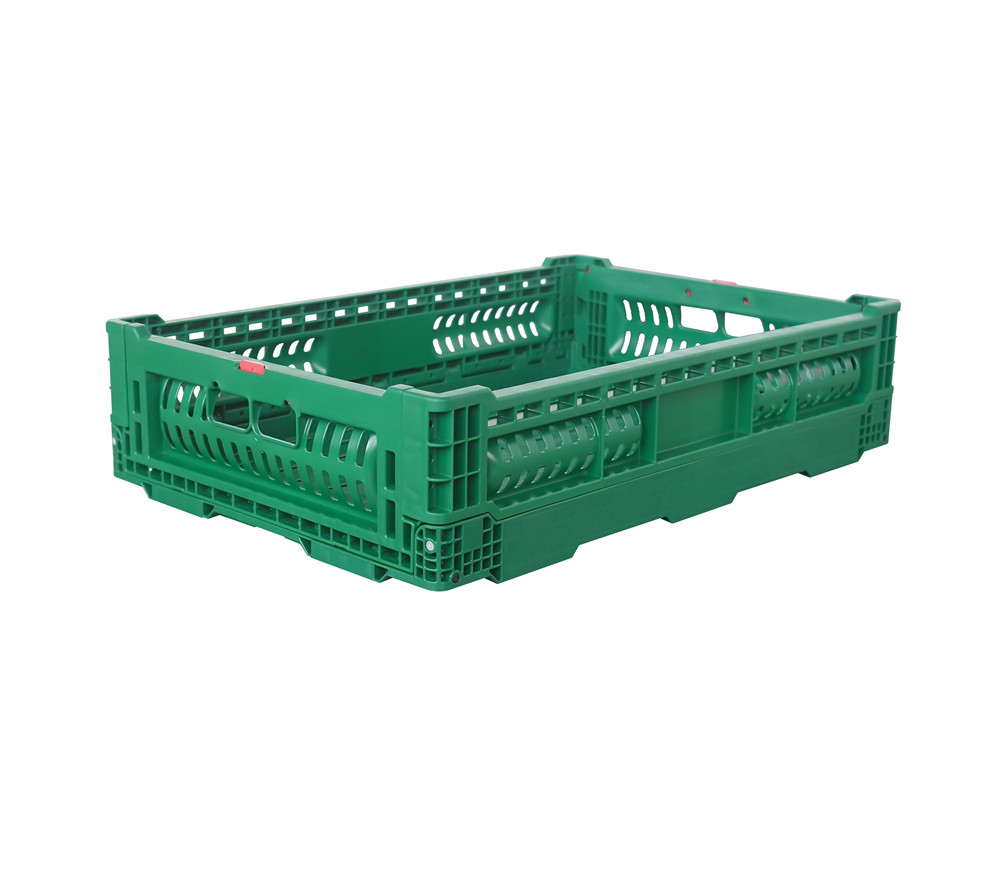 ZJKN604014W-HS 600*400*140 mm fruit use PP material vented type plastic collapsible  crate for fruit